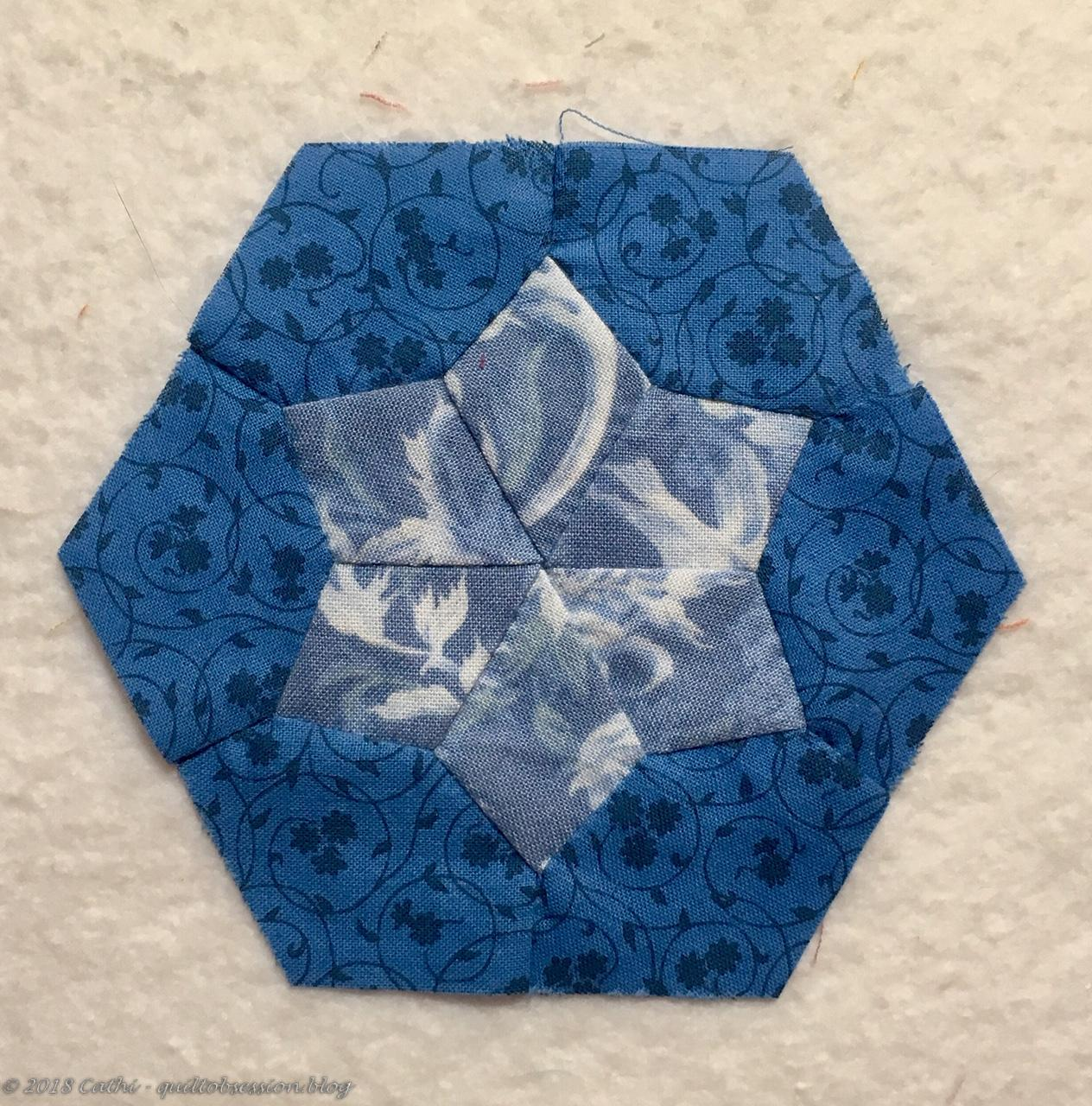 Blue Pieced Hexagon Block IMG_2578wtmk