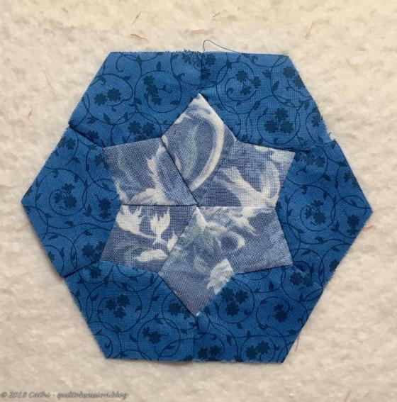 Blue Pieced Hexagon Block IMG_2578wtmk