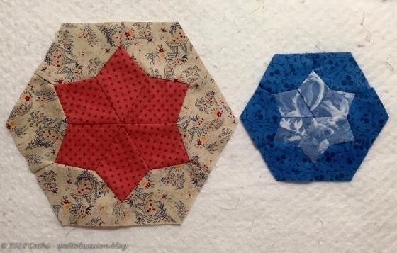Pink & Blue Pieced Hexagon Blocks IMG_2581wtmk